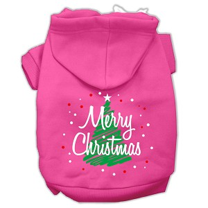 Scribbled Merry Christmas Screenprint Pet Hoodies Bright Pink Size XS (8)